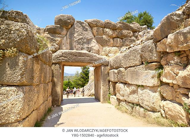 Ancient city of Mycenae, Lion Gate, Peloponnese, Greece