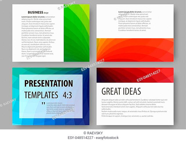 Set of business templates for presentation slides. Easy editable layouts, vector illustration. Colorful design background with abstract shapes, overlap effect
