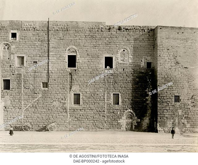 Walls of Svevo castle, detail, Bari, Apulia, Italy, photograph from Istituto Italiano d'Arti Grafiche, Bergamo, 1907-1909