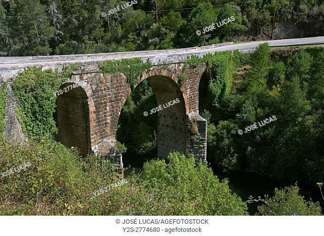 Roman bridge over Bibey river - 2nd century, A Pobra de Trives, Orense province, Region of Galicia, Spain, Europe