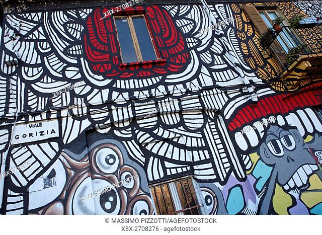 Street art in Viale Gorizia, Milan, Italy