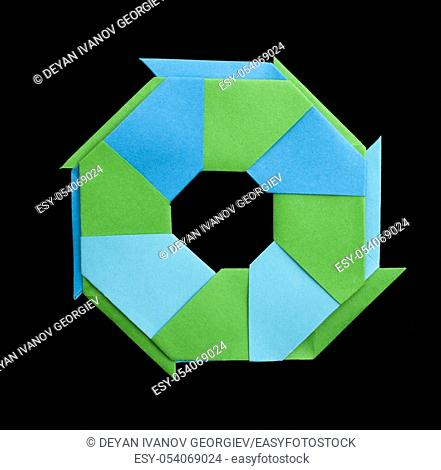 Blue and green geometric figure isolated origami