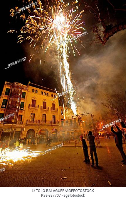 'Correfoc' fireworks, Llucmajor. Migjorn, Majorca, Balearic Islands, Spain
