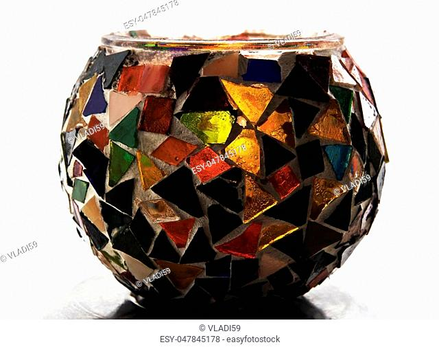 Artistic Ethnic Mosaic glass candle holder