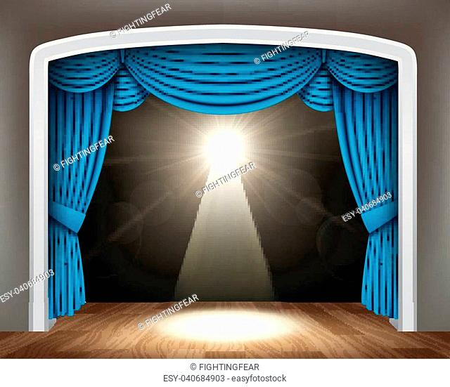 Vector Illustration Of Blue curtain of classical theater with spotlight on wood floor