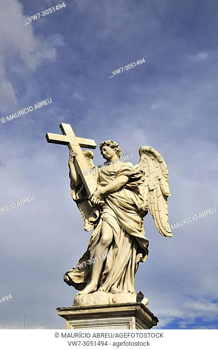 Angel with a Cross, by Ercole Ferrata, Ponte Sant'Angelo, Rome. Italy