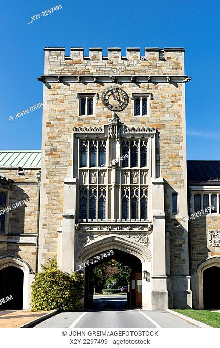Main gate at Vassar College, Poughkeepsie, New York, USA