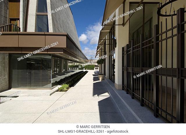 Sidewalk along office complex
