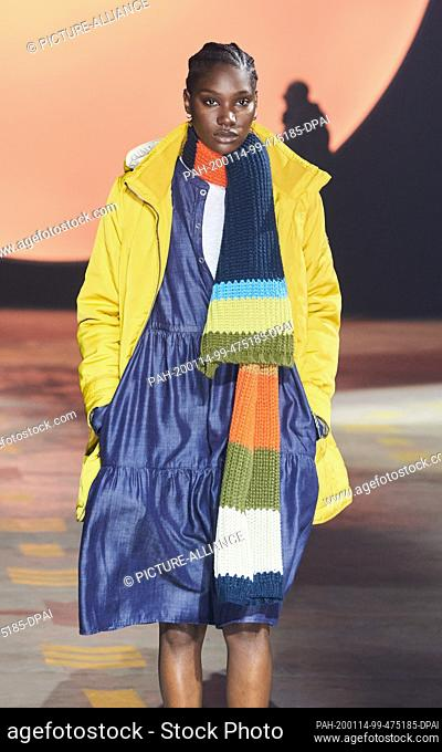 14 January 2020, Berlin: A model runs at the show of the label Camel active in the Wriezener Karree. Photo: Annette Riedl/dpa. - Berlin/Berlin/Germany