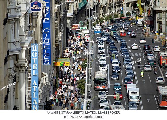 Traffic on the Gran Via street, Madrid, Spain, Europe