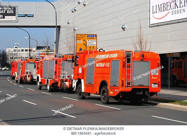 Fire truck at the shopping center on Limbecker Platz, Essen, Ruhrgebiet Area, North Rhine-Westphalia, Germany, Europe
