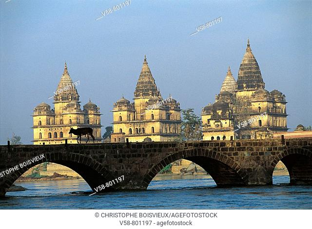 THE CENOTAPHS OF THE MAHARAJAHS OF ORCHHA AND THE BRIDGE ON THE BETWA RIVER
