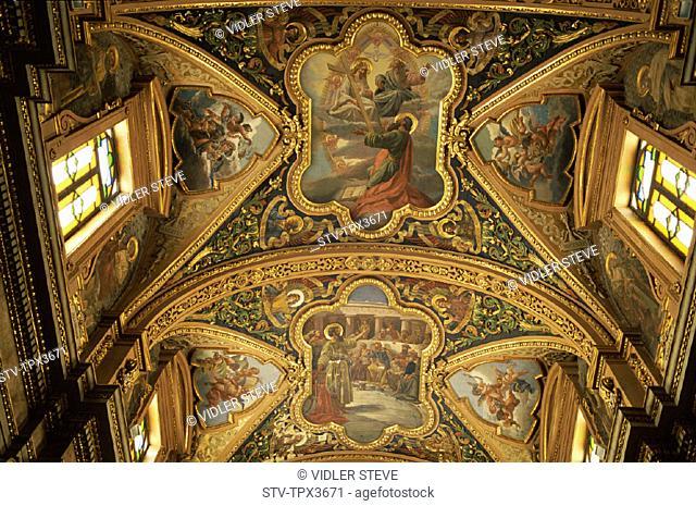 Ceiling, Church, Heritage, Holiday, Interior, Landmark, Malta, Pauls, Shipwreck, Tourism, Travel, Unesco, Vacation, Valetta, Wor