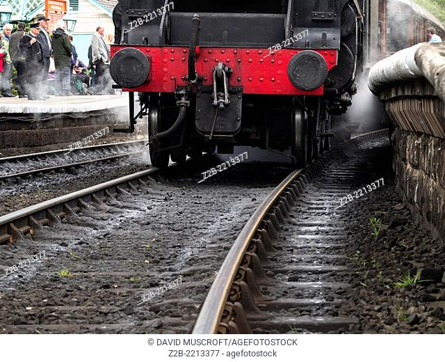 Detail of a vintage steam engine locomotive, North Yorkshire Moors Railway, on the North Yorkshire Moors, Yorkshire, UK