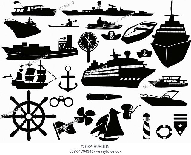 sailing objects icon set