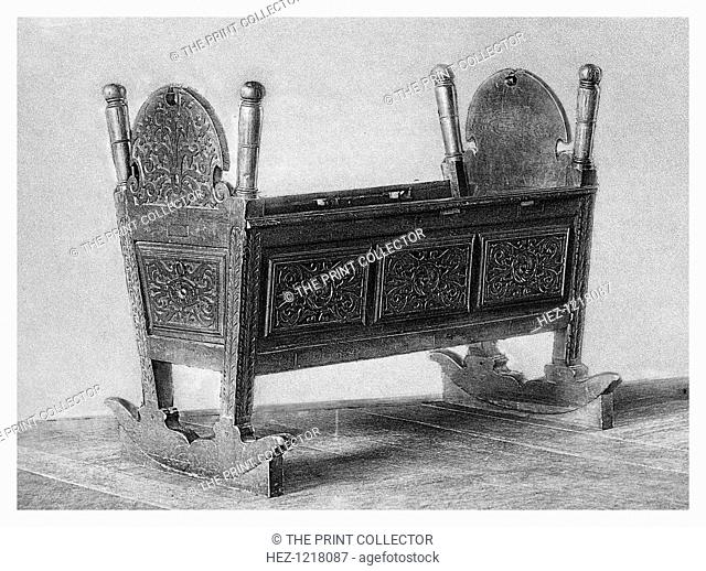Queen Elizabeth I's cradle, (1896). Princess Elizabeth (1533-1603) spent much of her early childhood at the Royal Palace of Hatfield, Hatfield House