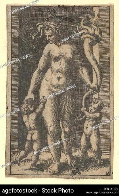 Venus attended by cupids. Artist: Marcantonio Raimondi (Italian, Argini (?) ca. 1480-before 1534 Bologna (?)); Artist: Designed by Raphael (Raffaello Sanzio or...