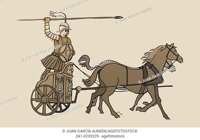 Antequera, Spain - July 14th, 2017: Essedarius or chariot gladiator drawing. Historical reconstruction drawing at Archaelogical Museum of Cordoba, Spain