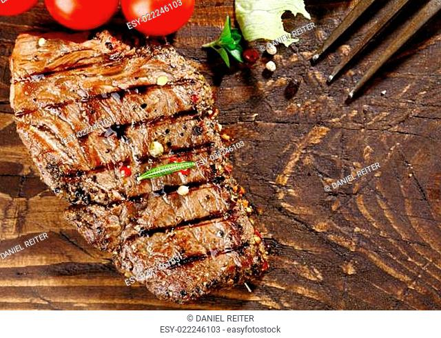 Juicy grilled beef steak
