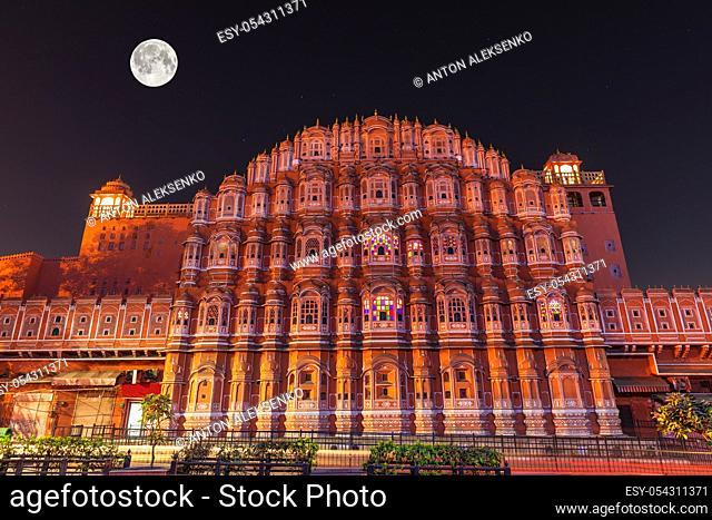 Hawa Mahal or the Palace of winds, night facade view, Jaipur, India
