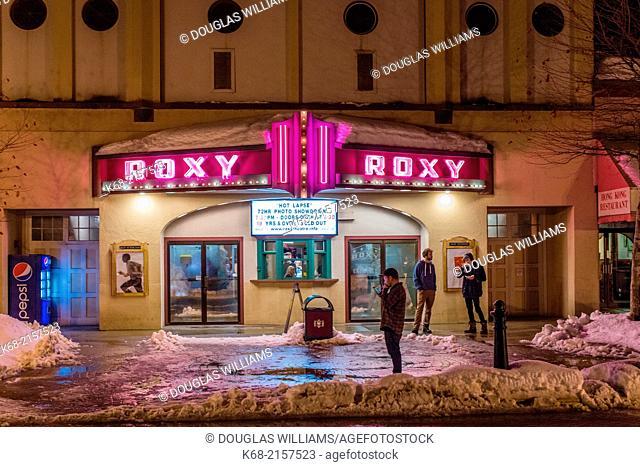 Roxy Theatre in winter, at night, in Revelstoke, BC, Canada
