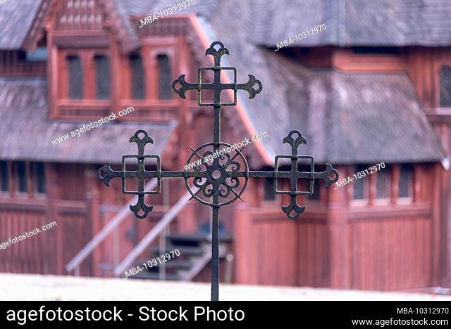 Germany, Lower Saxony, Harz, Goslar, Gustav-Adolf-Stave Church in Hahnenklee, cross, detail