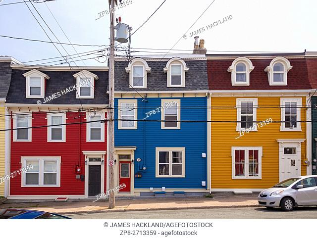 Colourful row houses (Jellybean Row) in downtown St. John's, Avalon Peninsula, Newfoundland, Canada