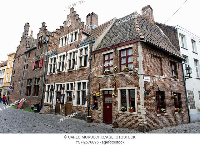 Typical house in Corduwaniers straat, Ghent, Belgium, Europe
