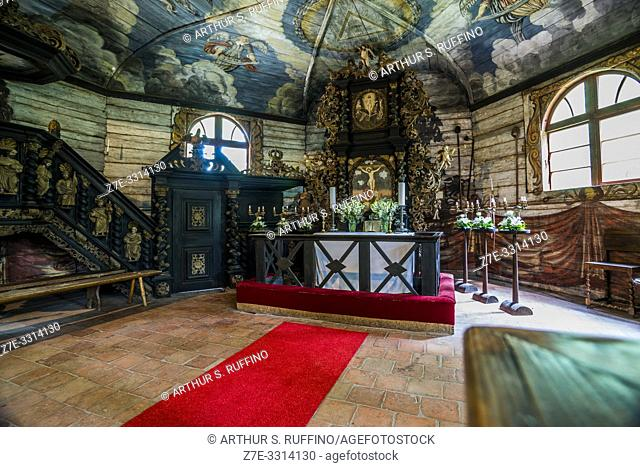 Interior of Renda Lutheran Parish Church (18th century). Latvian Ethnographic Open-Air Museum. Riga, Latvia, Baltic States, Europe