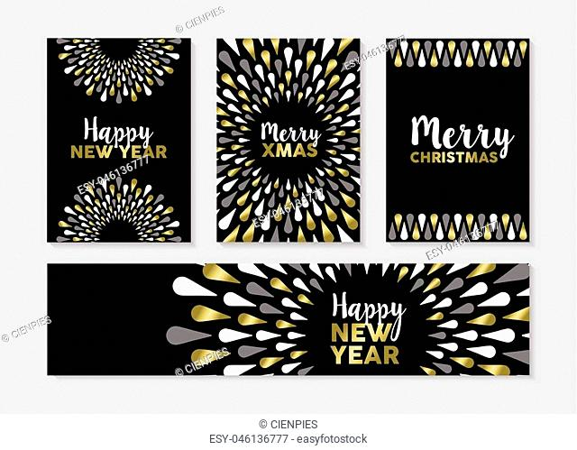 Merry Christmas Happy New Year gold set of elegant designs for banner, greeting card, label, tags. EPS10 vector