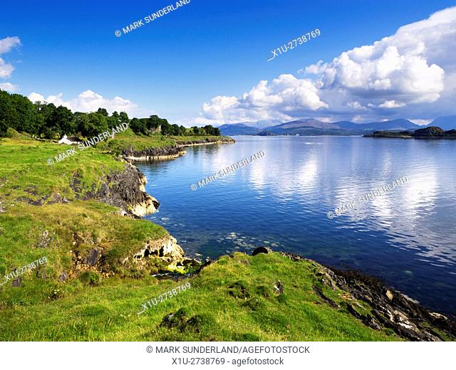 White Cottage on the Shore overlooking the Lynn of Lorn Isle Lismore Argyll and Bute Scotland