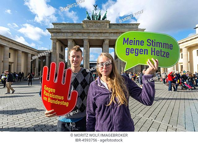 Two students with shield My vote against hate, against racism in the Bundestag, Anti AFD-Demo, Brandenburg Gate, Berlin, Germany