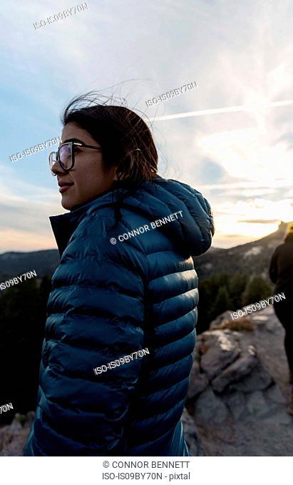 Tourist enjoying scenery on hilltop, Arcata, California, United States