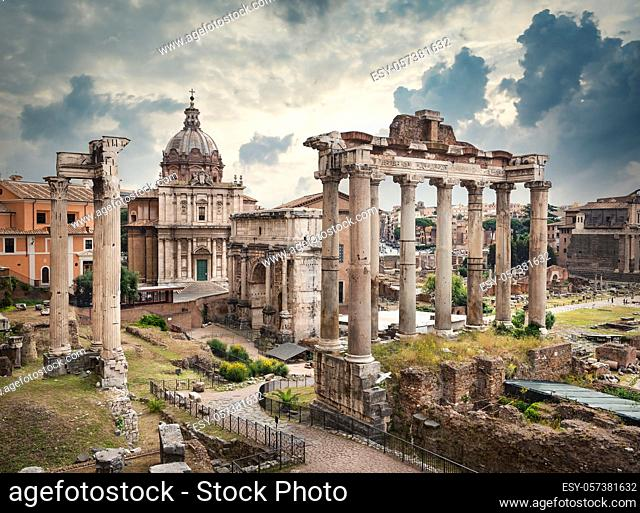 Temples and ruins of the Roman Forum in bad weather