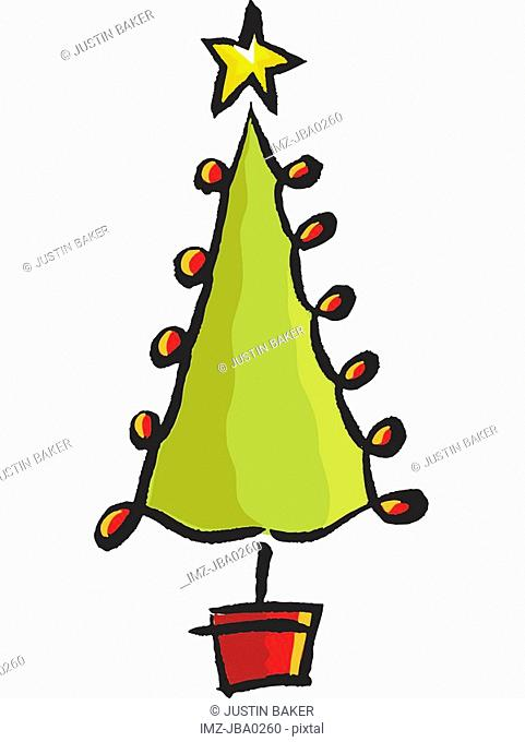 A drawing of a whimsical christmas tree