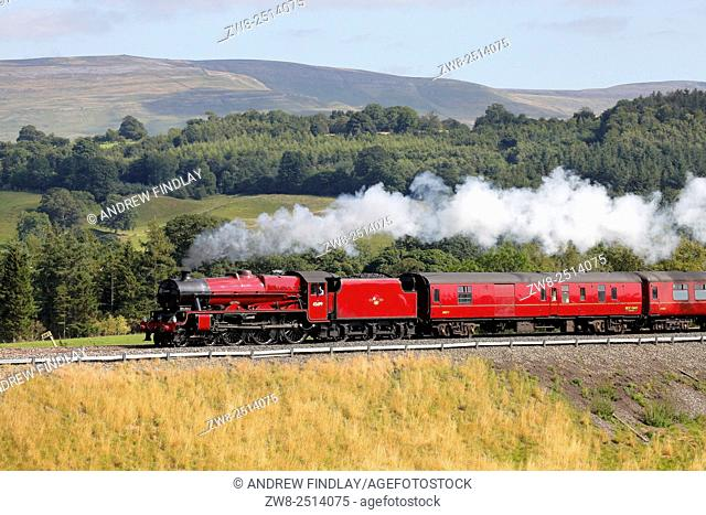 Steam locomotive LMS Jubilee Class 45699 Galatea on the Settle to Carlisle Railway Line near Lazonby, Eden Valley, Cumbria, England, UK