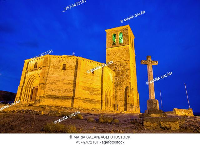 Vera Cruz church, night view. Segovia, Spain