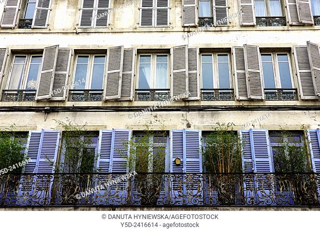 Facade in Lons-le-Saunier capital of Jura department - préfecture (39), region Franche-Comté, East of France, Europe
