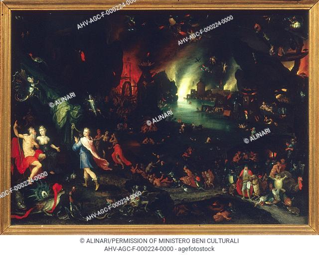Painting entitled 'Orpheus in the Underworld' by Jan Brueghel the Elder, in the Palatine Gallery in Palazzo Pitti in Florence (XVI century)