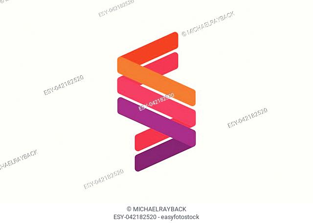 Abstract letter S logo design template. Line creative sign. Universal vector icon