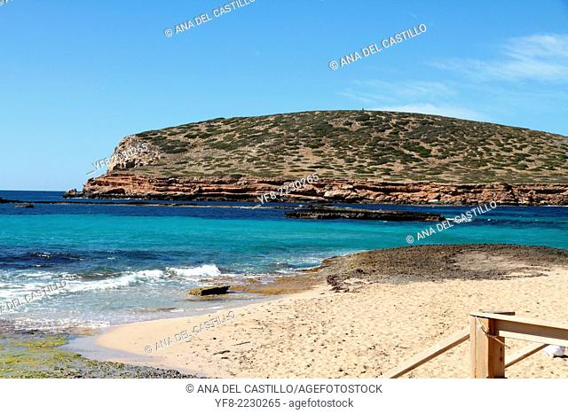Cala Comta cove in Ibiza coast Balearic islands Spain