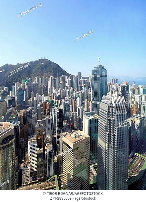 China, Hong Kong, Central district, skyline, Victoria Peak, aerial view,
