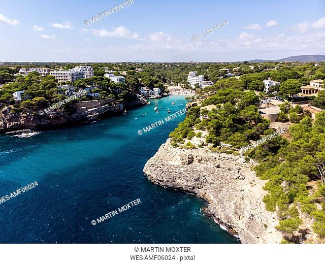 Spain, Balearic Islands, Mallorca, Aerial view of bay Cala Santanyi, beach and Roca Fesa