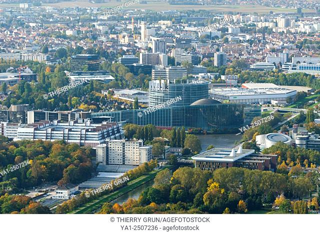 France, Bas Rhin 67, Strasbourg, European Instututions buildings, Palace of Europe, Institute of Human Rights and European parliament aerial view