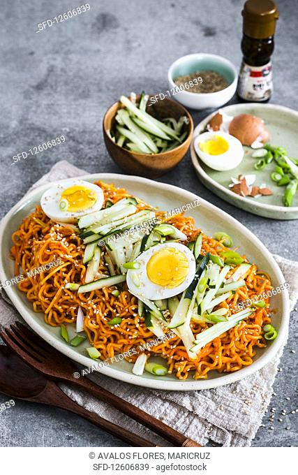 Chewy and spicy korean cold noodles
