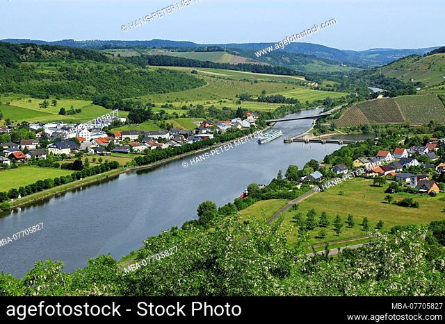The Saar Valley at Ayl-Biebelhausen and Schoden, Rhineland-Palatinate, Germany