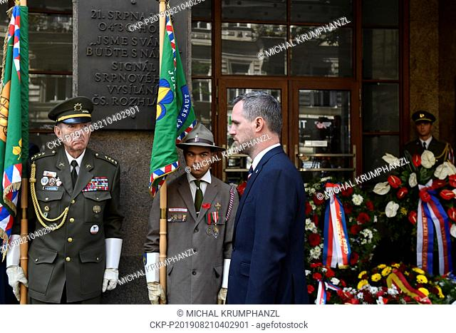 Prague Mayor Zdenek Hrib attends an act of reverence to honour the memory of people killed in August 1968 in defense of the Czech radio building