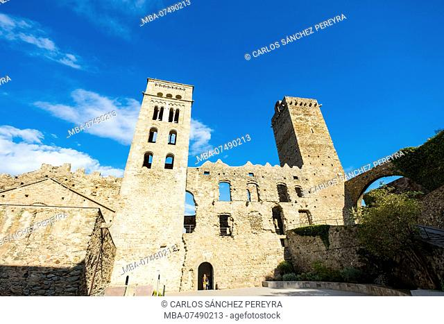 Medieval monastery of Sant Pere de Rodes in the nature reserve of Cap de Creus north of the Costa Brava in the province of Gerona in Catalonia Spain