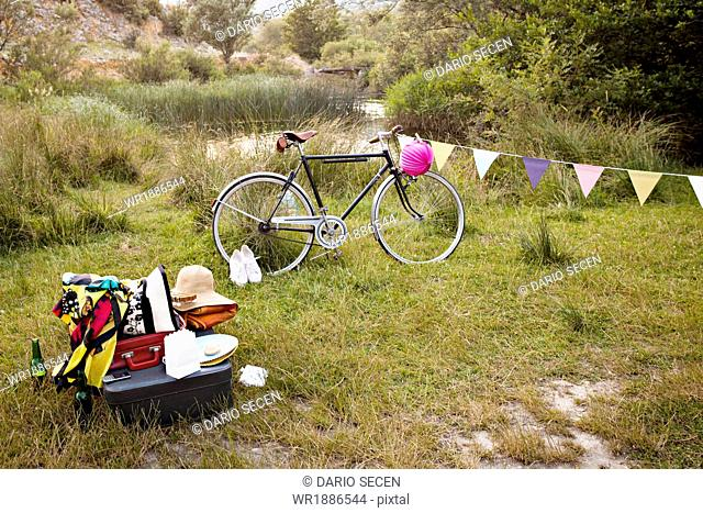 Croatia, Dalmatia, Party decoration and bike in the countryside