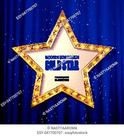 Retro star template. Frame cinema Gold star. Vector illustration